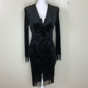 Lillie Rubin beaded little black dress and jacket